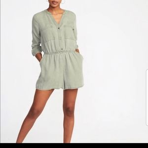 Army green shorts romper